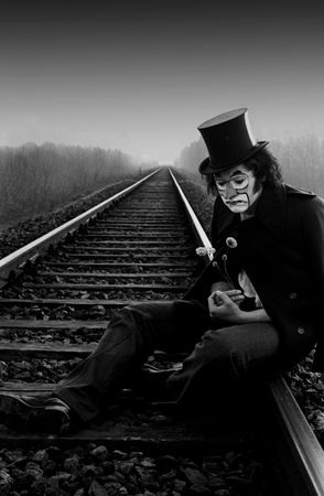 alone: Sad mask Stock Photo