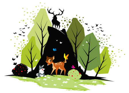 Illustration of Bambi and rabbit in forest