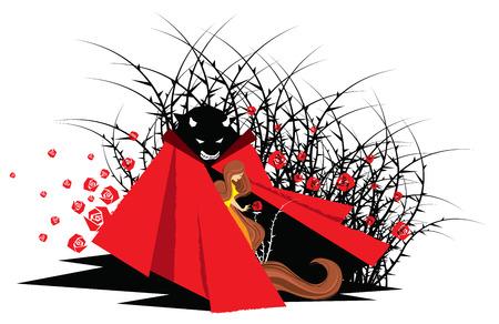 Ilustración del cuento de hadas de La Bella y la Bestia Ilustración de vector