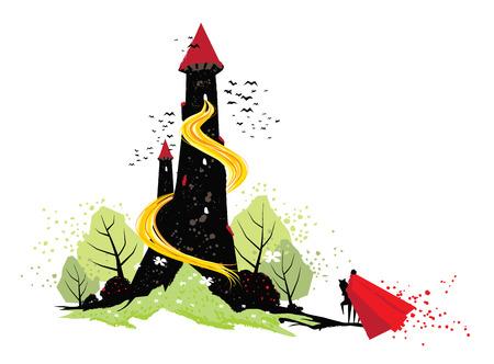 Illustration of fairy tale Rapunzel