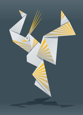 birds of paradise: Illustration of Paradise bird Origami