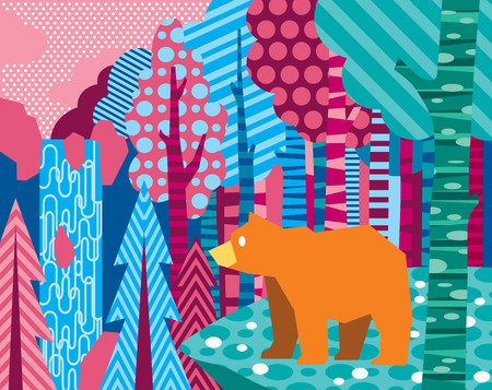 waterfall in forest: Illustration of bear in abstract forest with waterfall