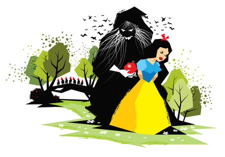 dwarfs: Illustration of fairy tale Snow White with evil witch