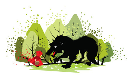 little red riding hood: Illustration of little red riding hood and the wolf Illustration