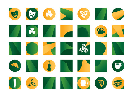 irish symbols: Illustration of green Irish symbols Illustration