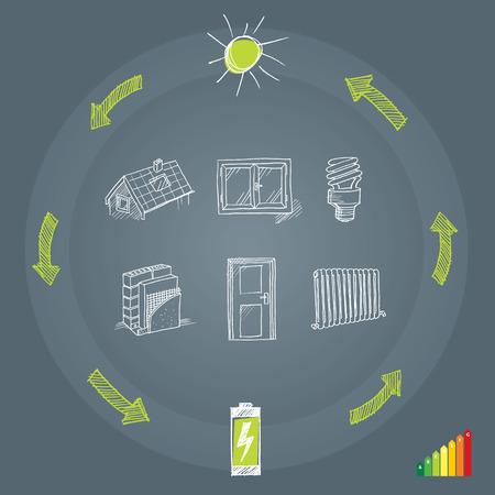 eficiencia energetica: Eficiencia energética  Vectores