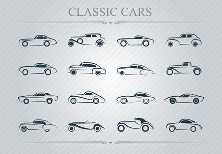 silhouette voiture: Illustration de voitures classique logo sur fond clair