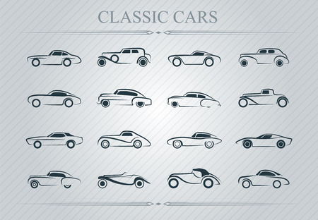 classic': Illustration of classic cars logo on light background