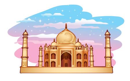 hindu temple: Illustration of Taj Mahal with blue purple sky