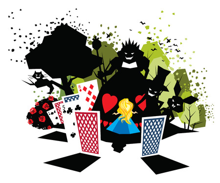 Illustration of children fairy tale Alice in Wonderland