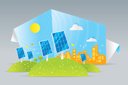 Illustration of eco solar panels on green field