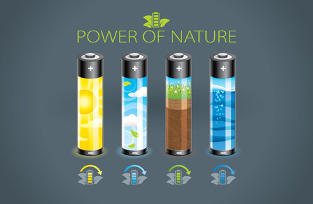 Illustration of four power of nature eco battery Ilustração