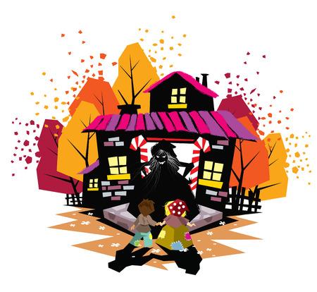 Illustration of children fairy tale Hansel and Gretel