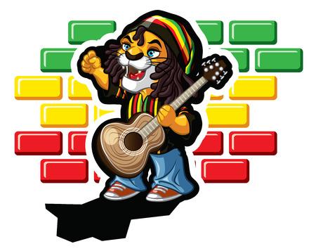 reggae: Illustration de reggae lion avec la guitare et la Jamaïque bouchon