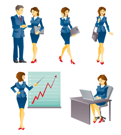 situation: Illustration of business woman in different business and work situation