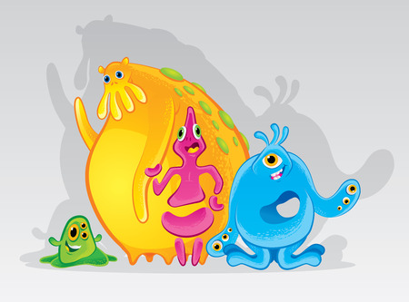 amorphous: Illustration of several different cute colorful monsters on gray background