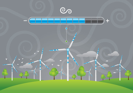 Illustration of eco windmills energy charging on green field with trees
