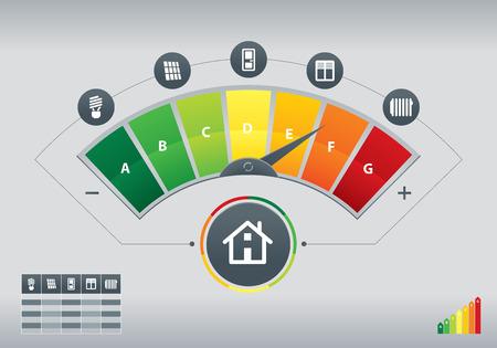 Illustrazione di metro dell'efficienza energetica con le icone di casa e il grafico Archivio Fotografico - 43562994
