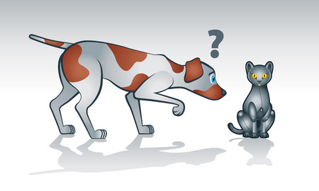 Illustration of curios real dog watching and sniffing a robot cat Ilustração