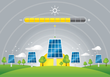 Illustration of solar panels energy charging on green field