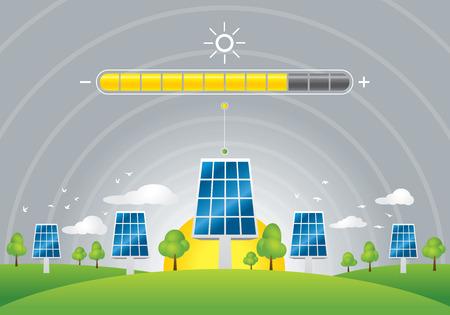 energia solar: Ilustración de paneles solares de energía de carga en el campo verde