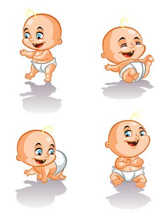 Illustration of sweet babies crawling, walking and smiling
