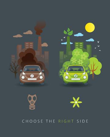 gasmask: Eco green and brown car