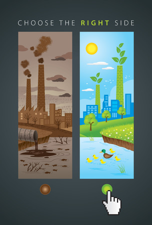 Illustration of comparison between dust industry and ecology clean city