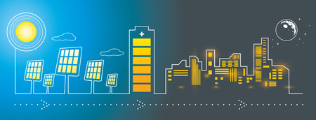 lights on: Illustration of solar panels city energy charging with big battery