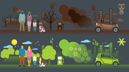 gasmask: Illustration of comparison between old car and new ecology car