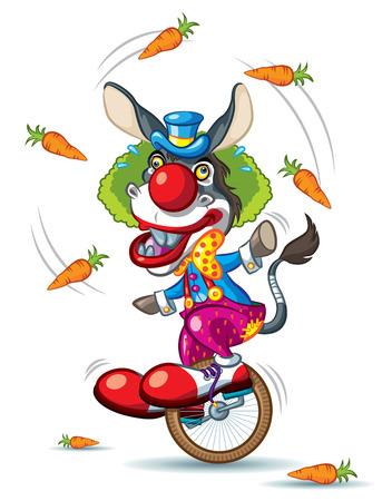 Illustration of Donkey Clown riding little unicycle Ilustração