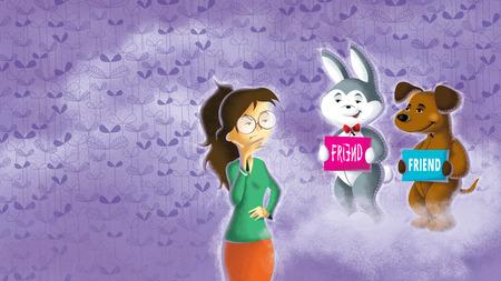Illustration of girl choose friend between dog and rabbit Imagens