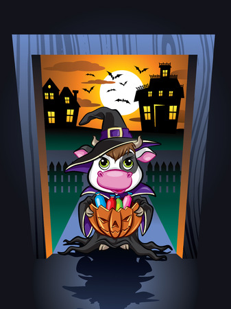 cartoon funny: Illustration of cute cow in door frame on Halloween night Illustration