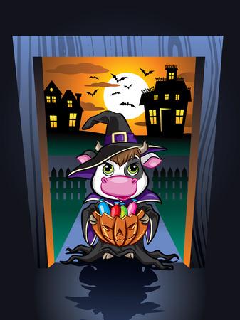 Illustration of cute cow in door frame on Halloween night Ilustração