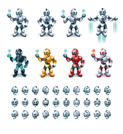 Illustration of different color chrome robot in several position