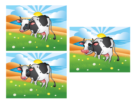 sea cow: Three different cows on the green meadow Illustration
