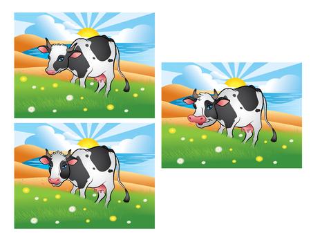 Three different cows on the green meadow Ilustração