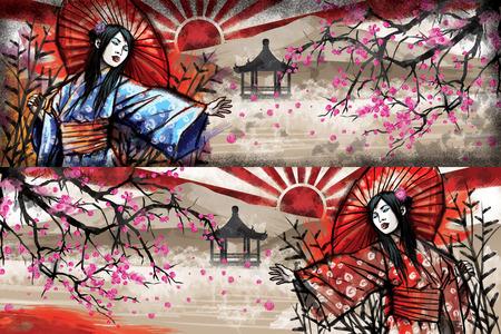 Illustration of beautiful oriental girl in kimono with cherry tree