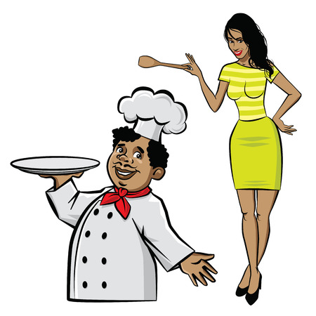 Illustration of chef with plate and woman cook with spatula