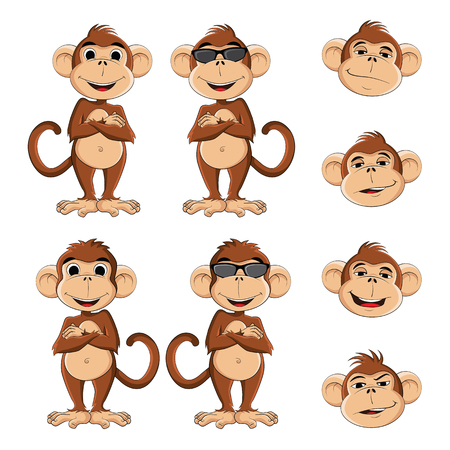 ciuffo: Illustration of cool monkey with glasses in several different position