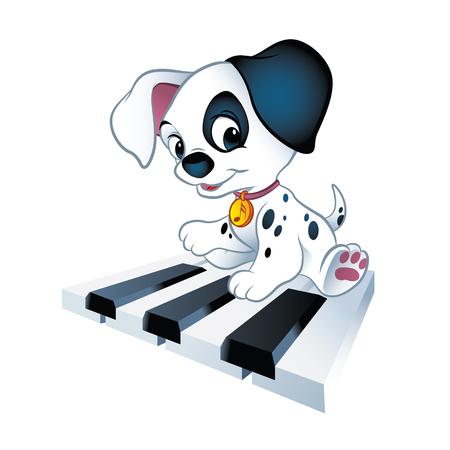 Illustration of cute little puppy sitting on piano keys Ilustração