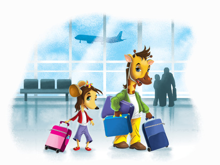 Illustration of cute girl mouse and giraffe on city airport Imagens