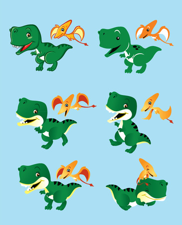 Illustration of two cute little dinosaurs in several different position