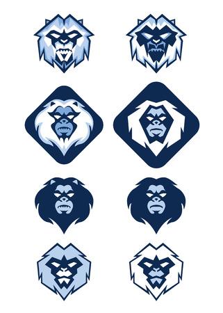 Illustration of several different white blue Yeti head logo