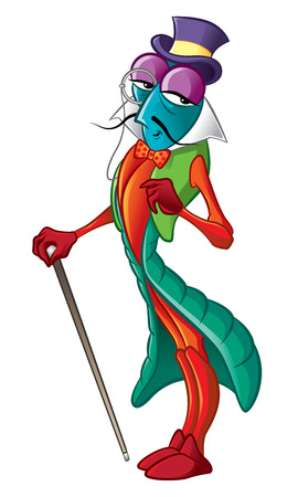 Illustration of colorful Beetle gentlemen with cane