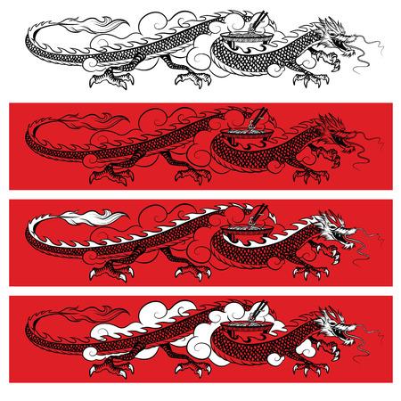 Illustration of traditional orient black dragon on red background Ilustração