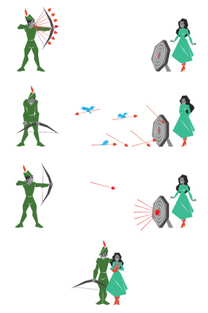 Illustration of green archer with target and woman Ilustração