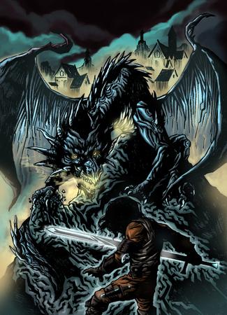 Illustration of dragon hunter fight big black dragon Imagens