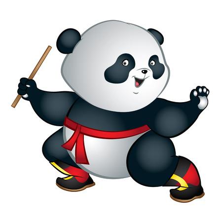 Illustration of big and cute martial art panda