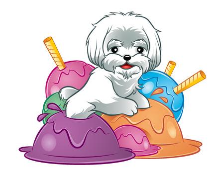Illustration of cute white dog puppy in ice-cream Ilustração